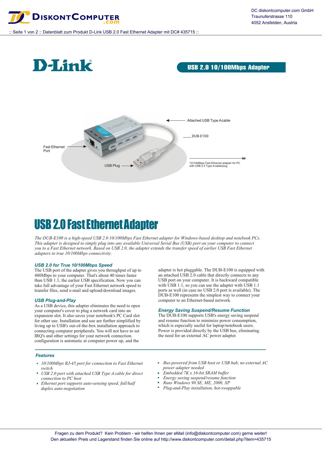 Accesorio de Red Al/ámbrico, USB, Ethernet, Negro Plugable Technologies USB2-E100 Ethernet Adaptador y Tarjeta de Red