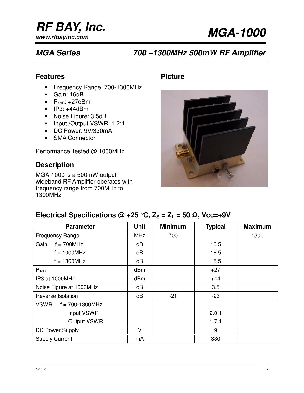 RF BAY, Inc  MGA-1000 | manualzz com