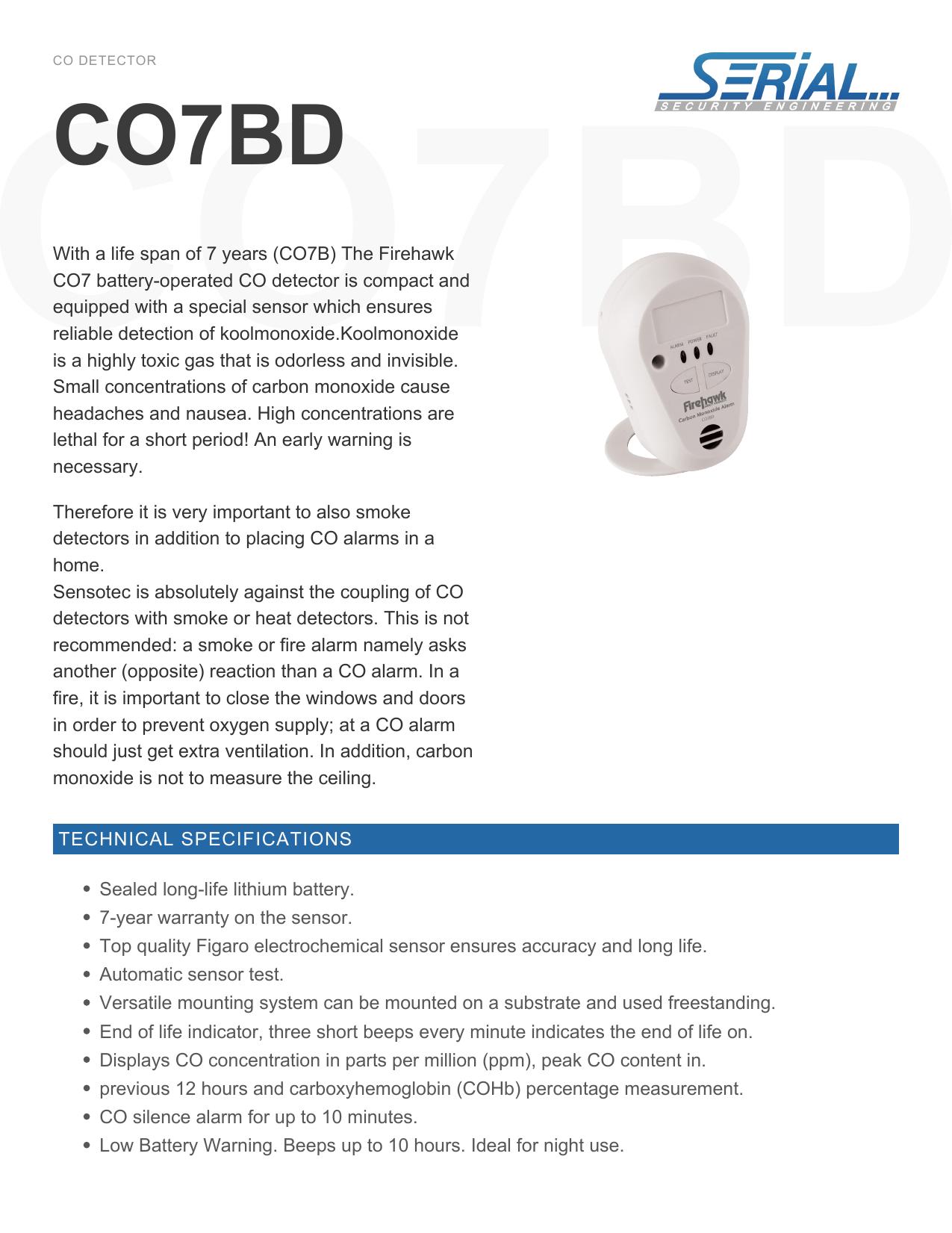 Fireblitz CO7B CO Alarm