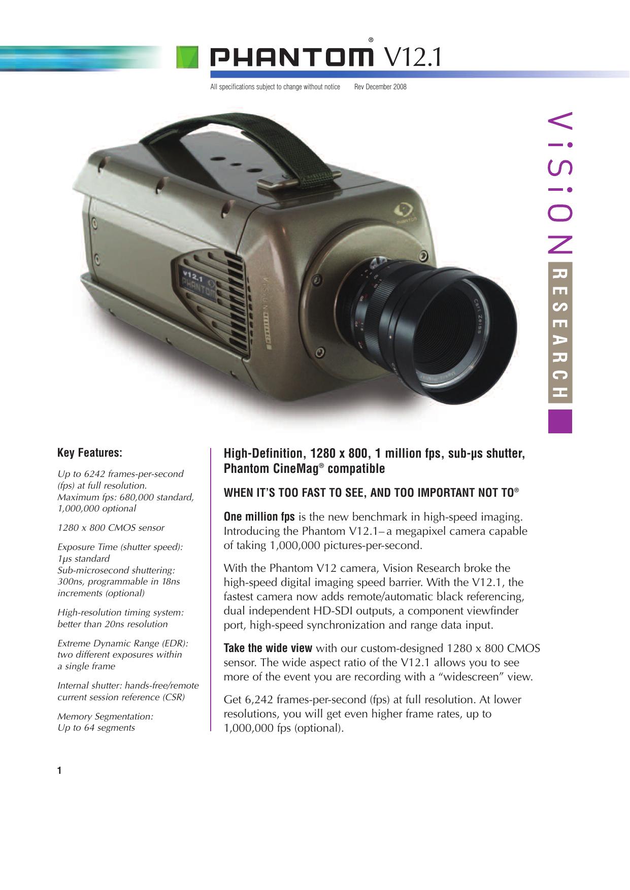 Vision Research Phantom v12.1 Camera Datasheet | manualzz.com