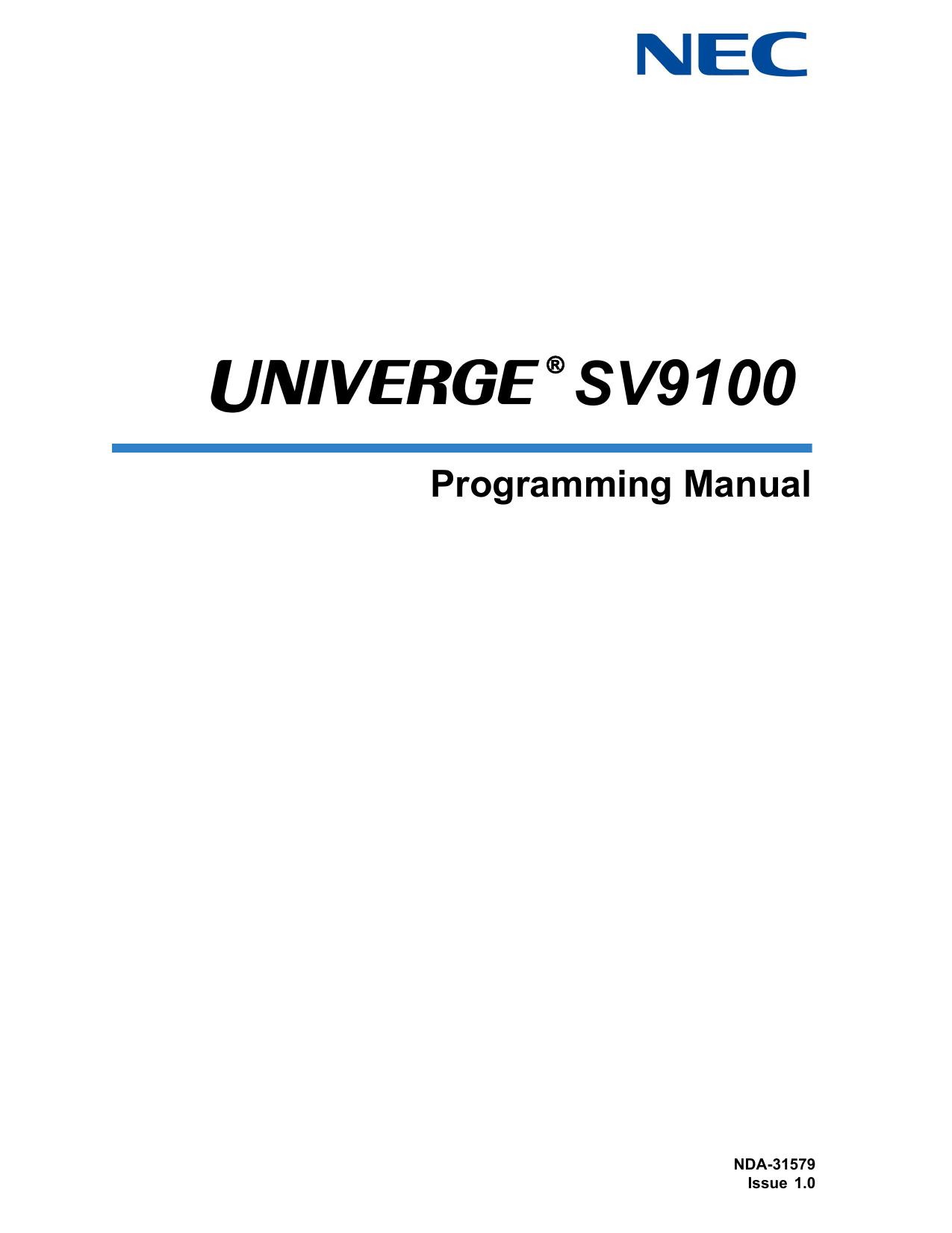 UNIVERGE SV9100 Programming Manual | manualzz com