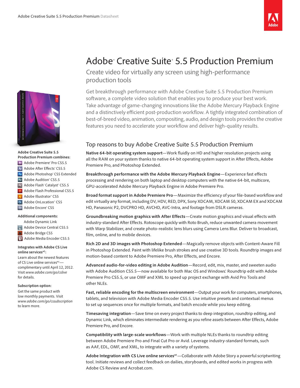 Adobe Creative Suite 5 5 Production Premium Datasheet