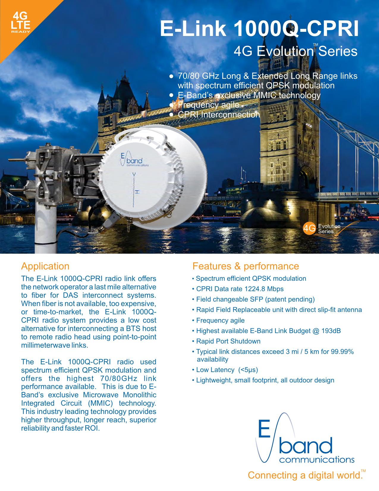 EBand 80 GHz QPSK ELink 1000Q    - E | manualzz com