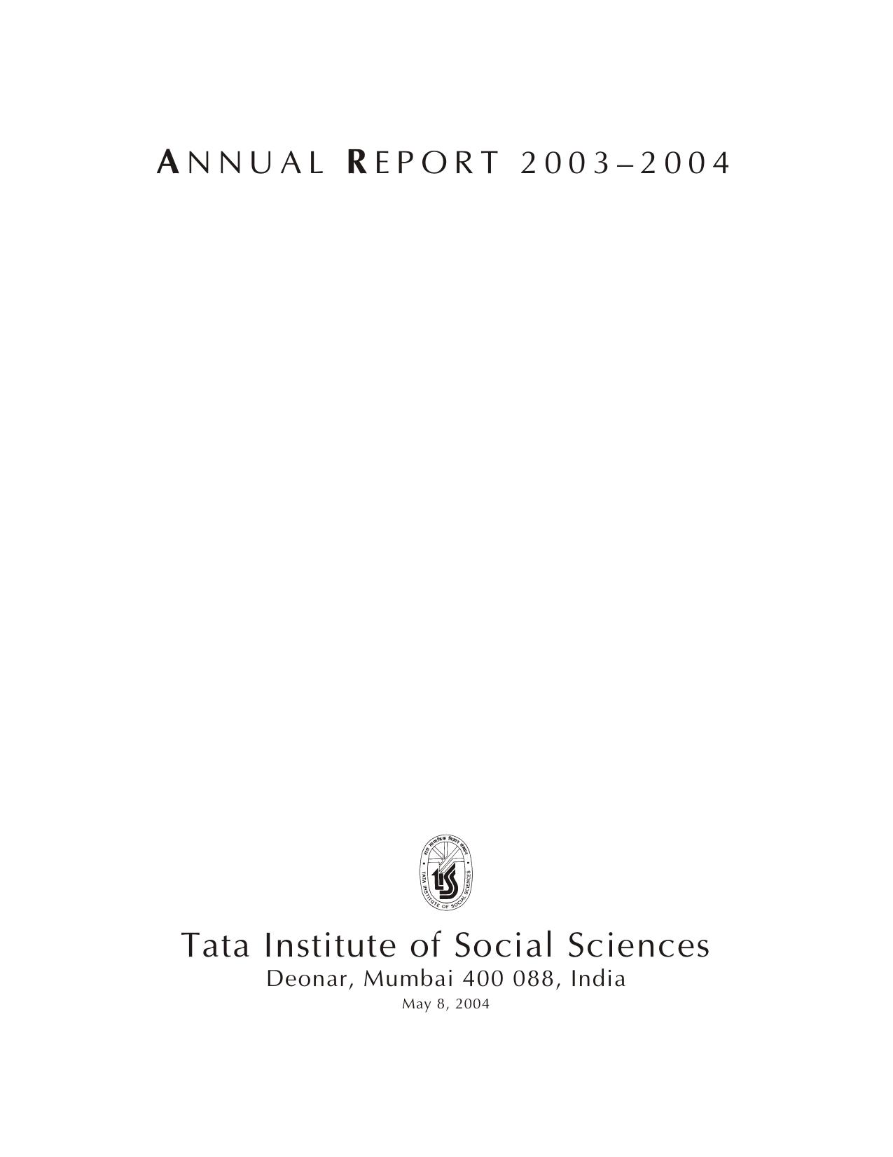 2003–2004 - Tata Institute of Social Sciences | manualzz com