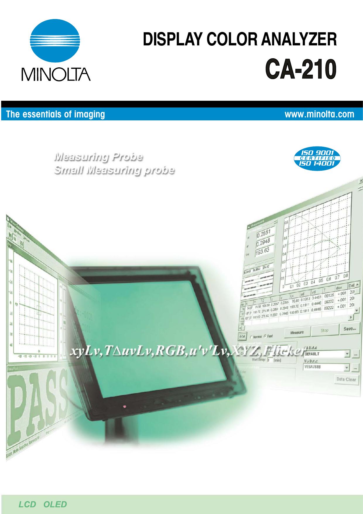 CA-P12//15 2m LCD Flicker Measuring Probe for Minolta CA210 Color Analyzer Tested