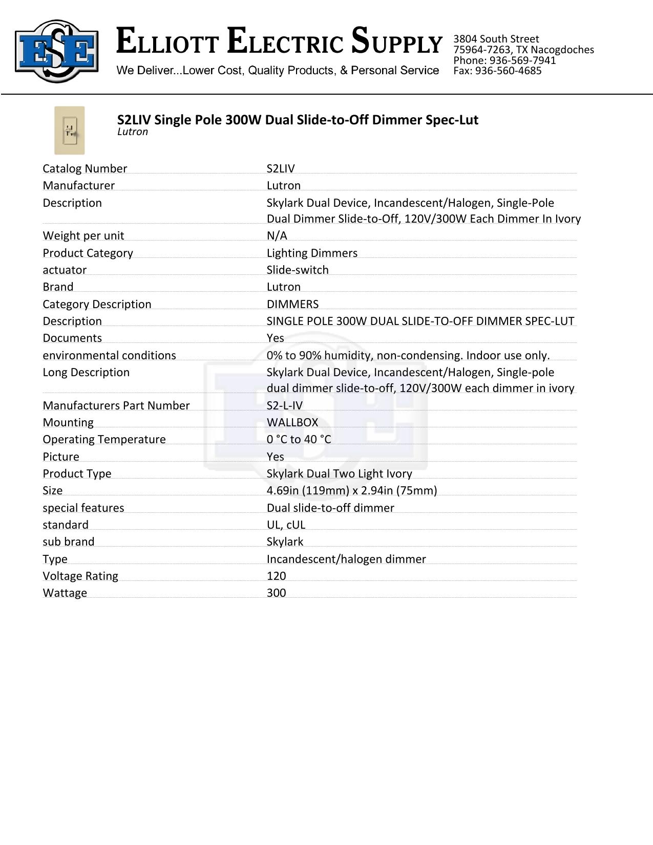 S2liv Single Pole 300w Dual Slide To Off Dimmer Spec Lut Manualzz Com
