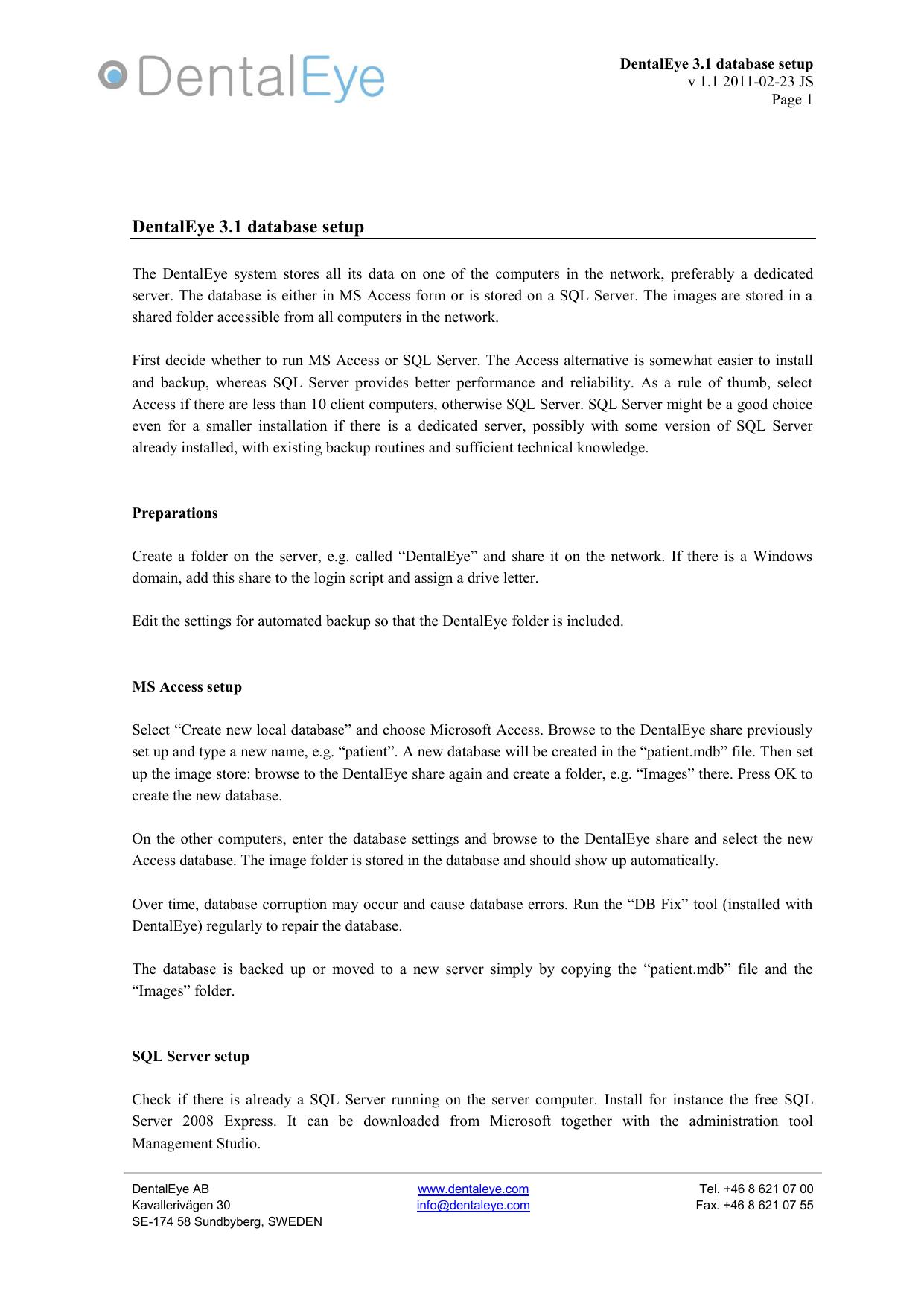 DentalEye 3 1 database setup | manualzz com