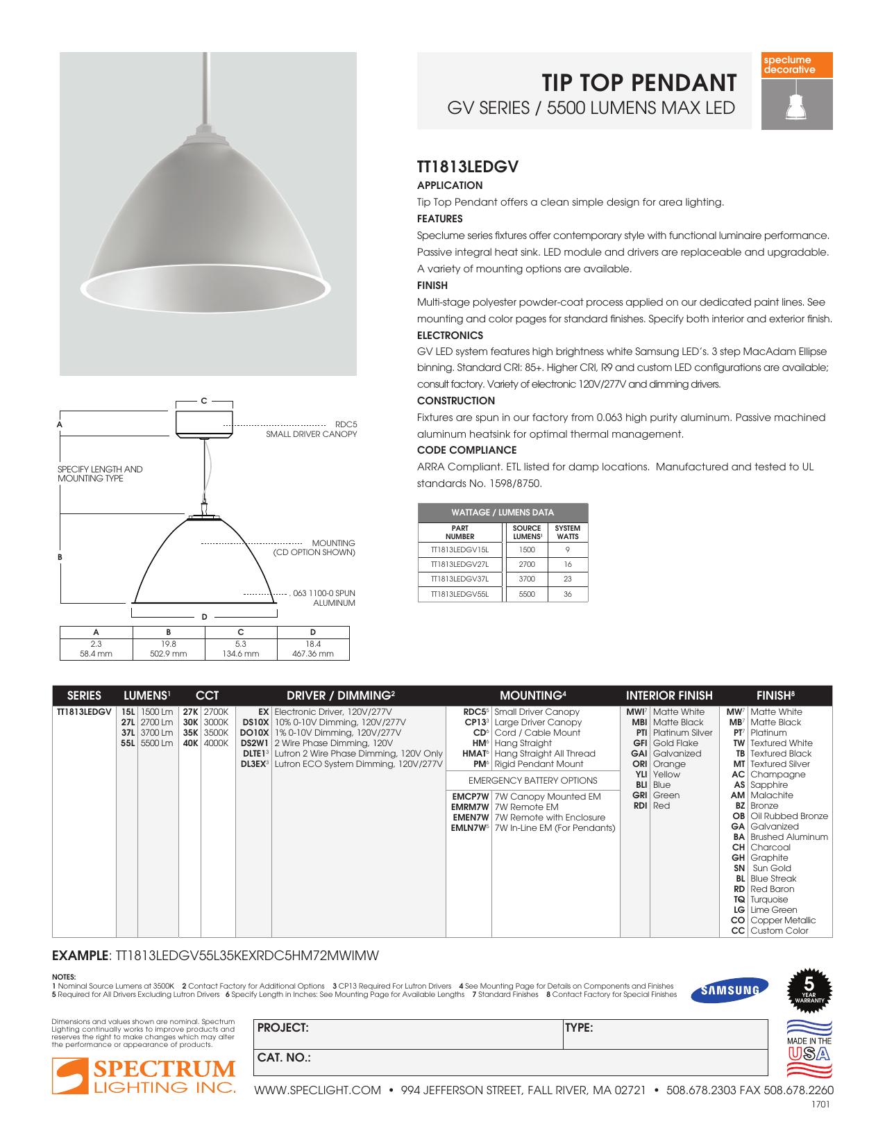 Tip Top Pendant Spectrum Lighting Manualzz
