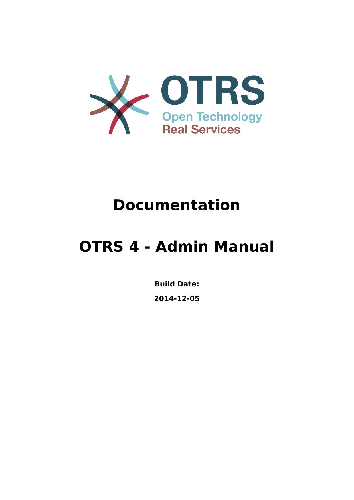 Documentation OTRS 4 - Admin Manual | manualzz com