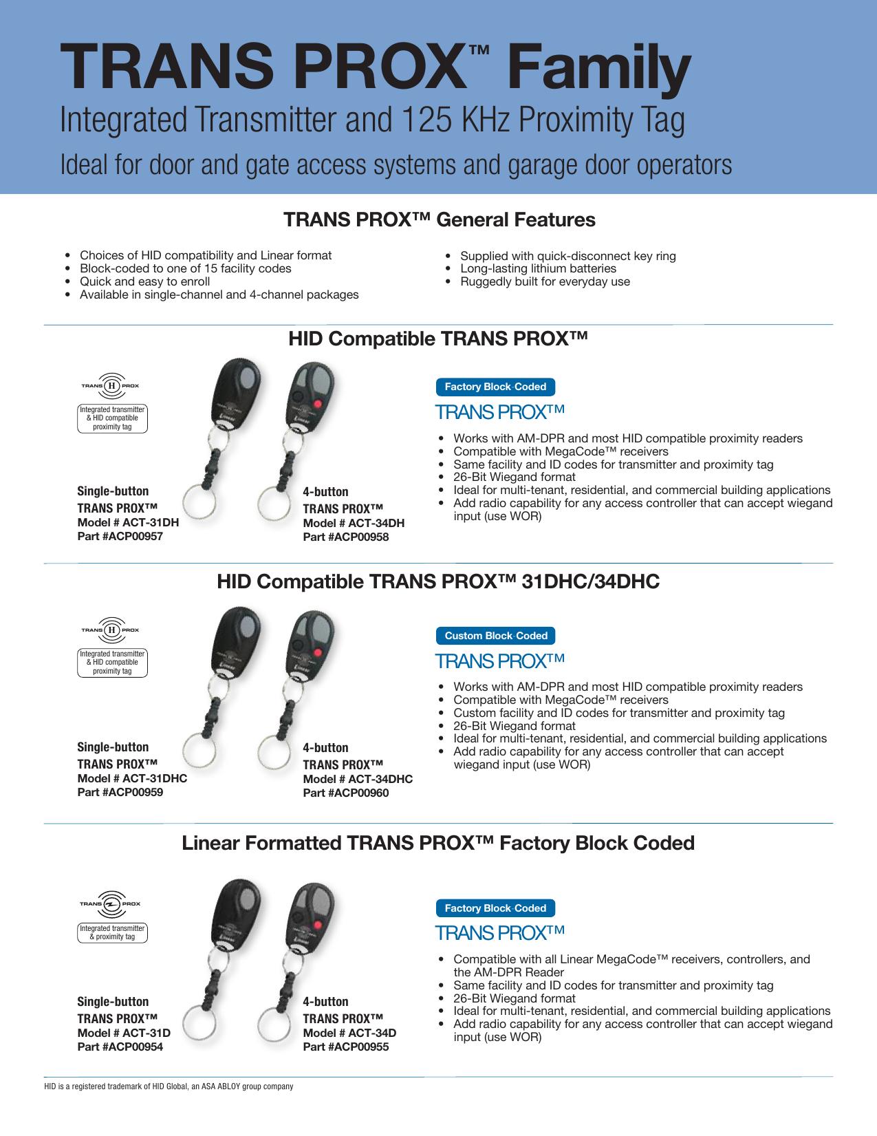 TRANS PROX™ Family - Linear Pro Access | manualzz com