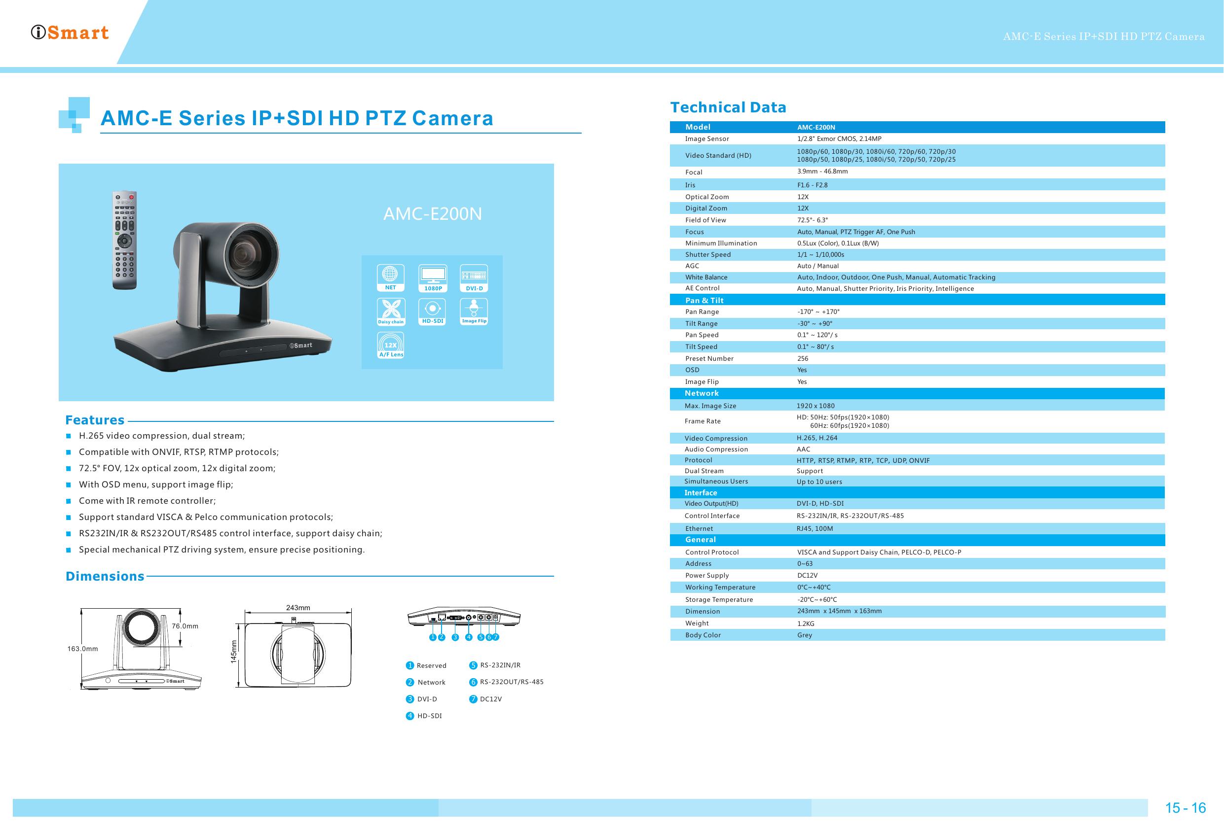 AMC-E Series IP+SDI HD PTZ Camera | manualzz com