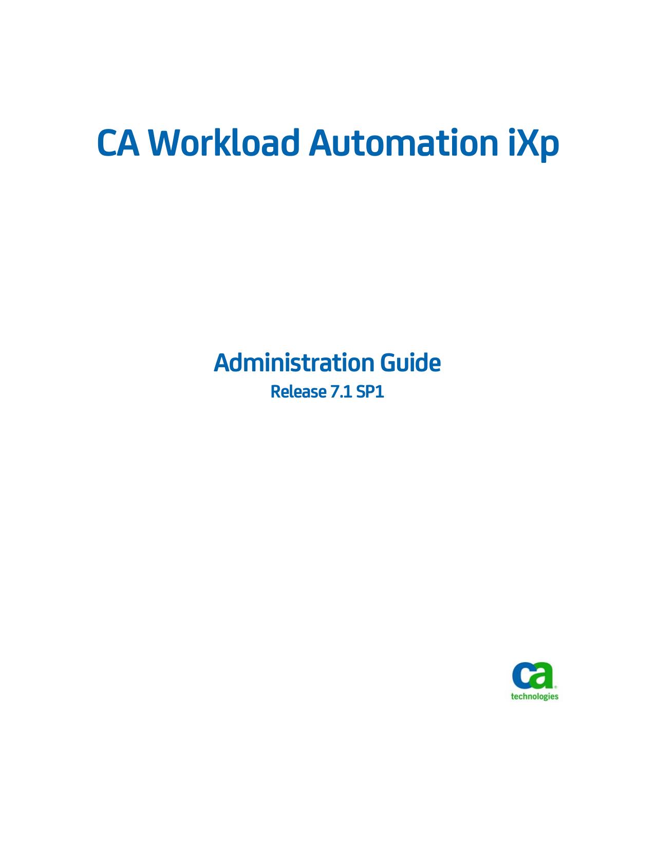 CA Workload Automation iXp Admin Guide | manualzz com