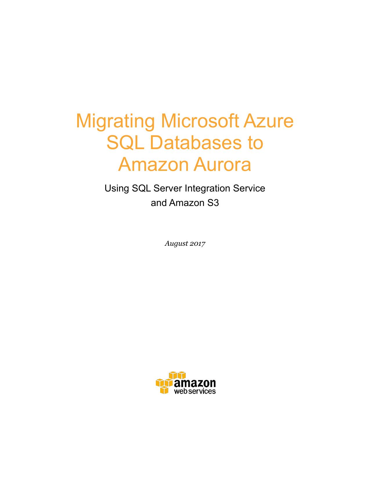 Migrating Microsoft Azure SQL Databases to Amazon Aurora