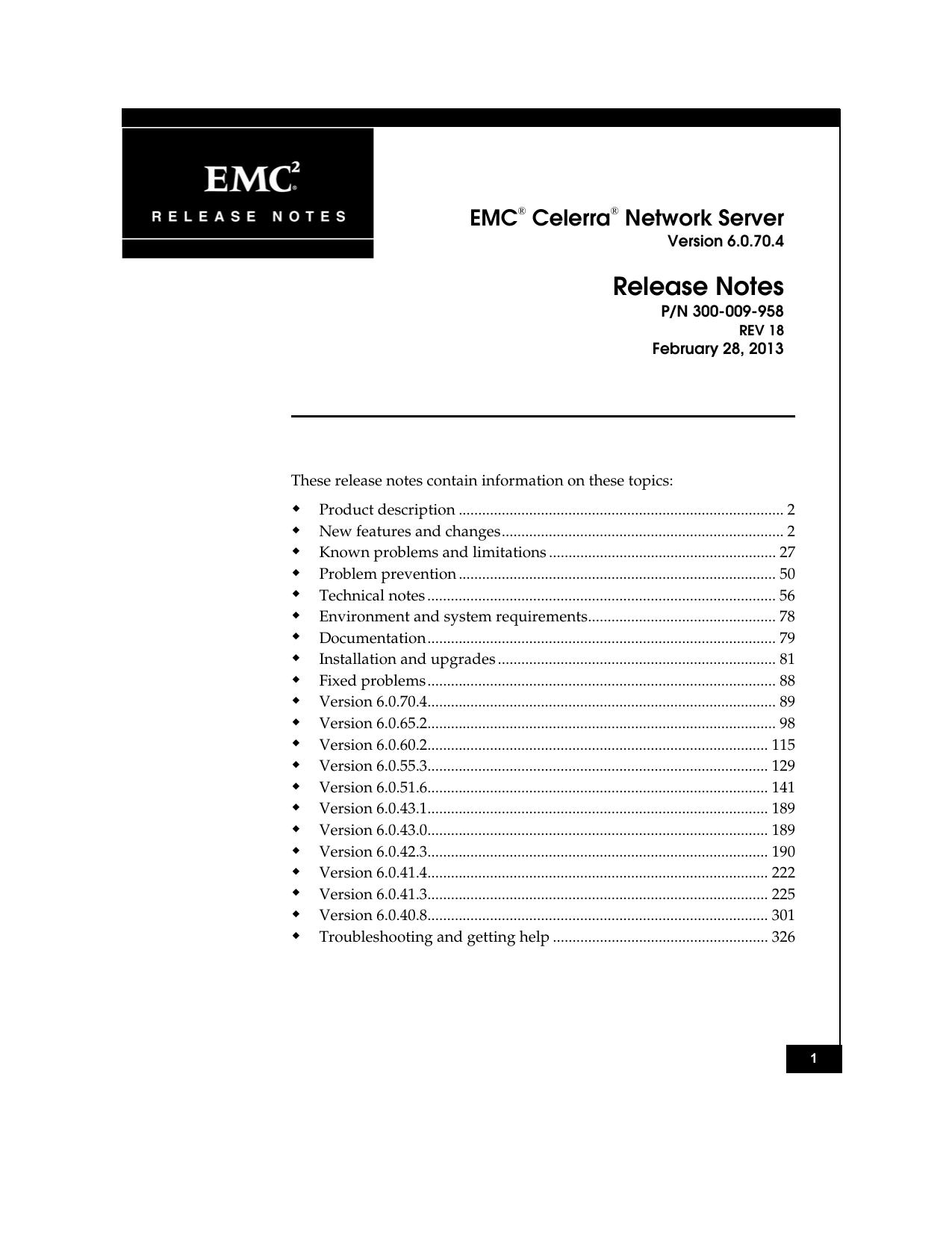 EMC Celerra Network Server Release Notes | manualzz com