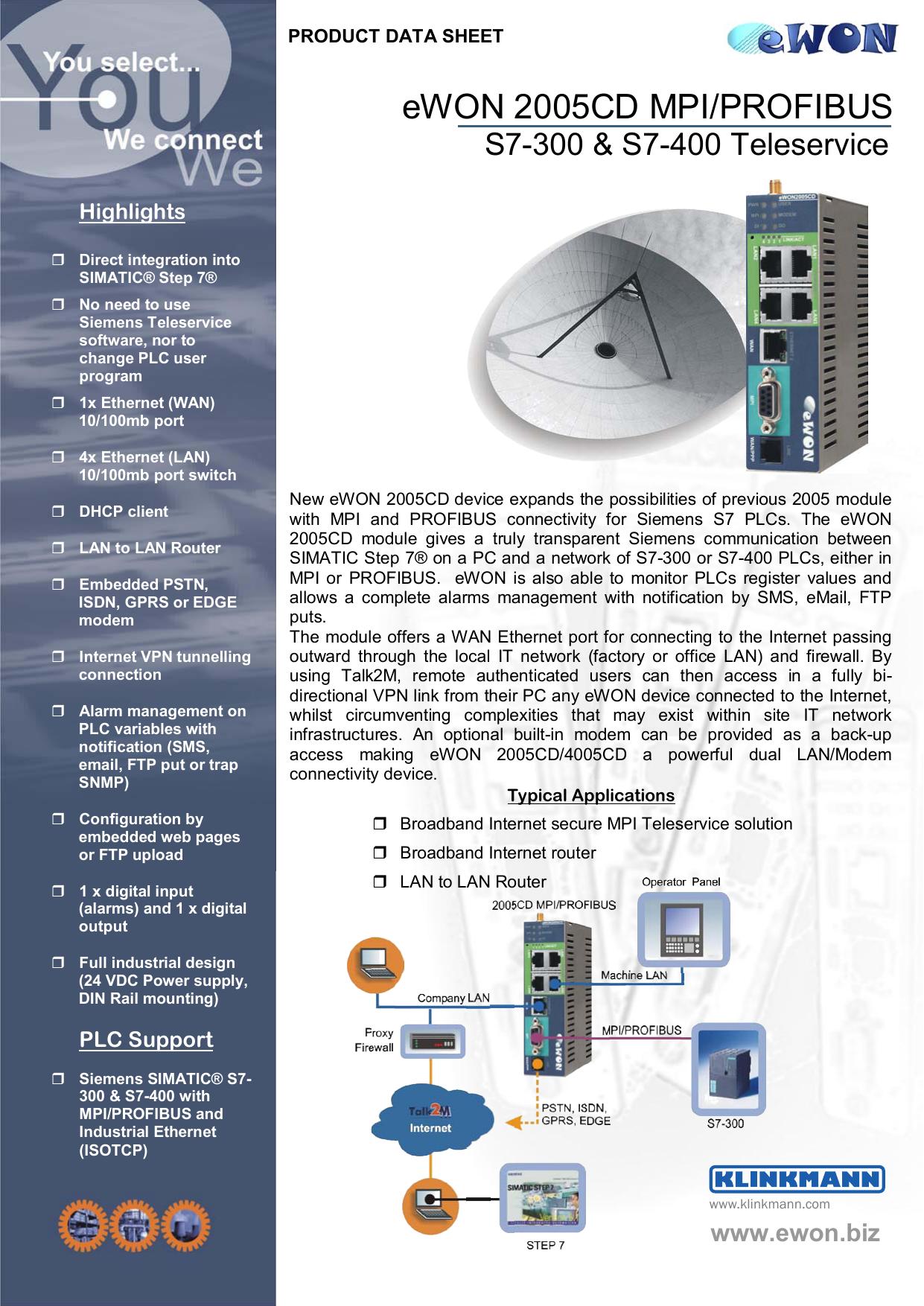 eWON 2005CD MPI/PROFIBUS | manualzz com
