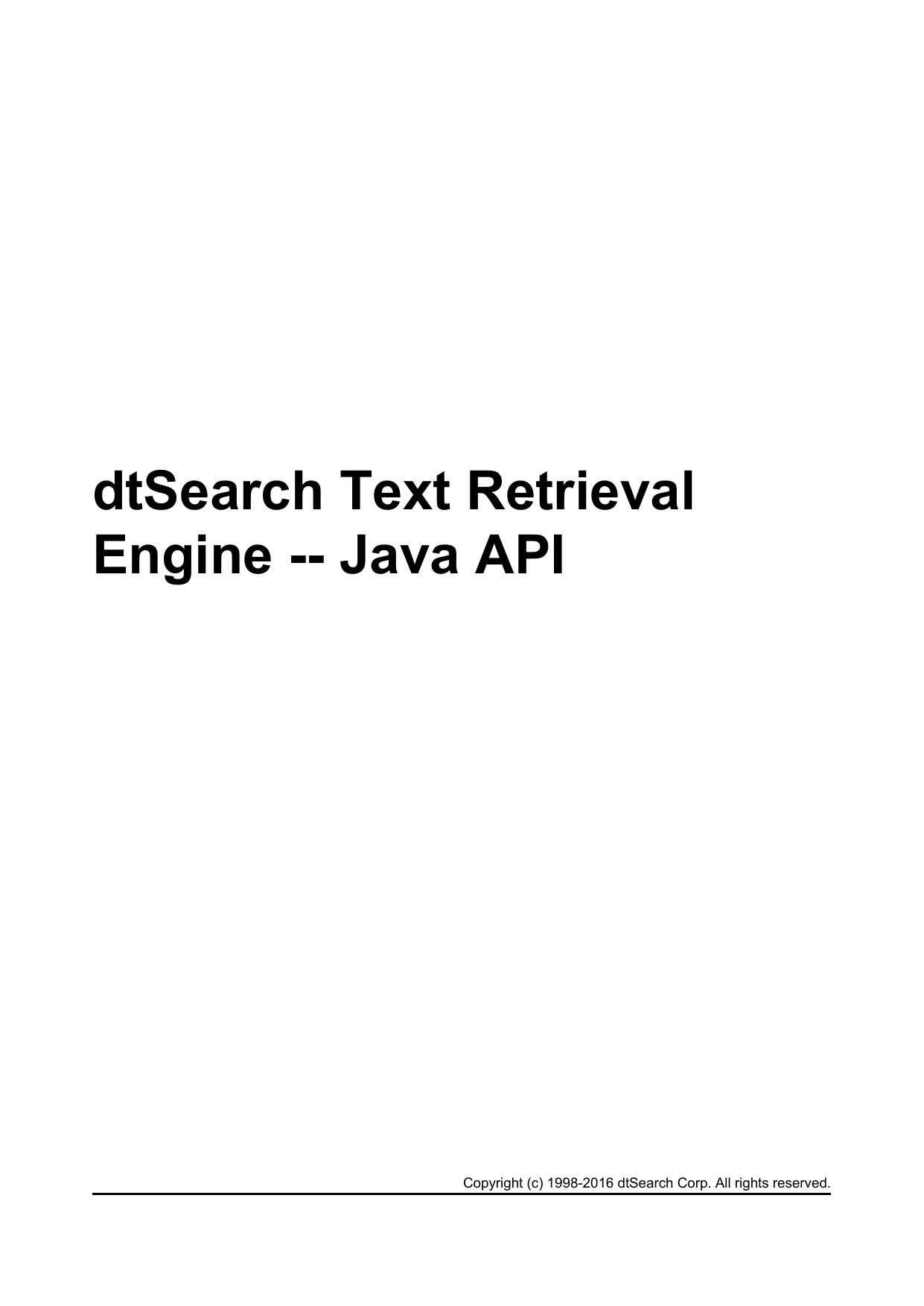 dtSearch Text Retrieval Engine -- Java API | manualzz com
