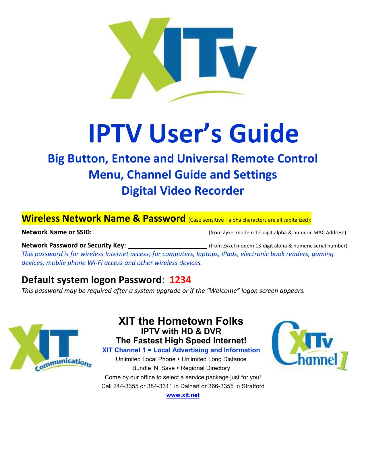 IPTV User`s Guide - XIT Communications   manualzz com